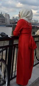 full sleeve maxi dress side on